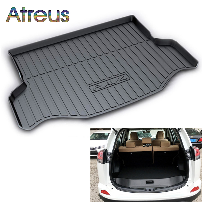 Atreus Car Rear Trunk Floor Mat Durable Carpet For Toyota RAV4 RAV 4 2016 2017 2018 Boot Liner Tray Waterproof Anti-slip mat atreus car rear trunk floor mat durable carpet for toyota corolla e140 e150 2007 2013 boot liner tray waterproof anti slip mat