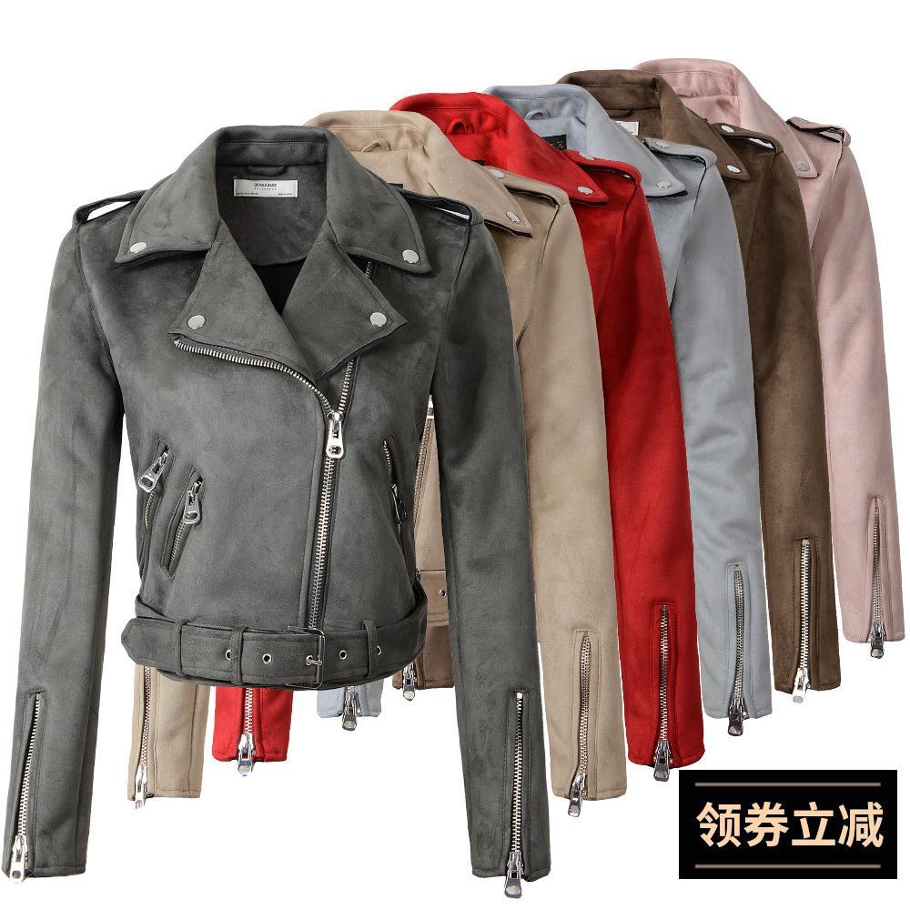 b 2019 Spring Autumn Women Faux   Suede   Jacket Fashion Zipper Motorcycle   Leather   Coat Female Short Biker Jackets Dropshipping