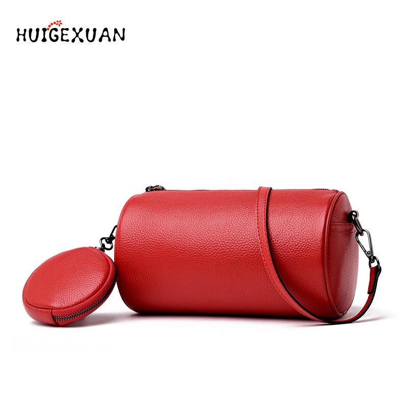 2019 New Womens Genuine Leather Handbag High Quality Barrel Shaped Shoulder Bag Female Handmade Vintage Small