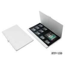 9 en 1 De Aluminio Bolsa Caja de Almacenamiento Caja de Tarjeta de Memoria titular de La Cartera de Gran Capacidad De 8 * MicroSD SDHC SDXC SD 1 * tarjeta