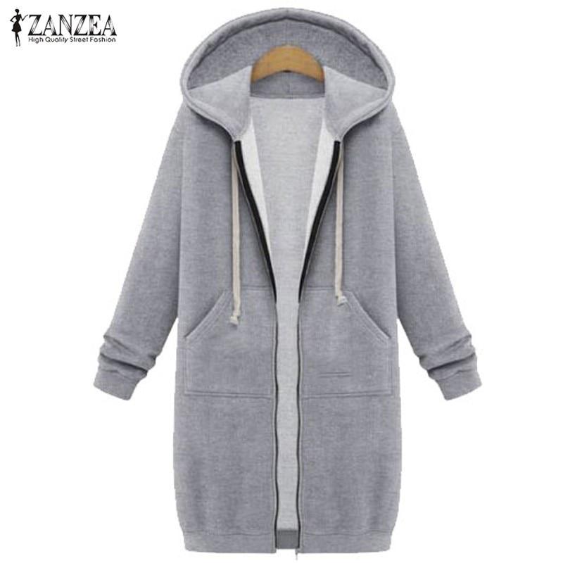 c1b1938bae1 2018 Autumn Winter ZANZEA Women Hoodies Sweatshirt Casual Loose Long Coat  Pockets Zip Up Outerwear Hooded Jacket Tops Plus Size -in Hoodies    Sweatshirts ...