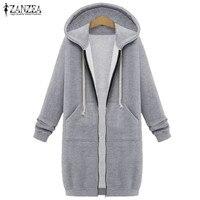 ZANZEA Winter Coats 2016 Fashion Women Long Hooded Sweatshirts Coat Casual Pockets Zipper Solid Outerwear Hoodies
