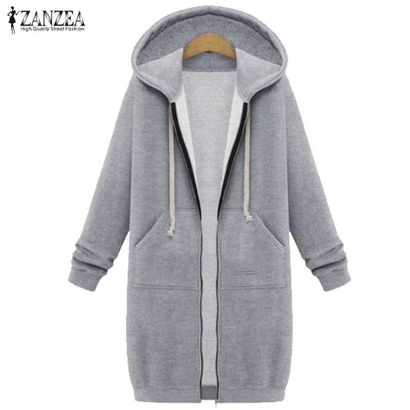 2019 Herbst Winter Zanzea Frauen Hoodies Sweatshirt Beiläufige Lose Langen Mantel Taschen Zip Up Oberbekleidung Mit Kapuze Jacke Tops Plus Größe Online Shop