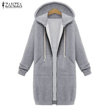 ZANZEA Winter Coats 2017 Fashion Women Long Hooded Sweatshirts Coat Casual Pockets Zipper Solid Outerwear Hoodies Jacket