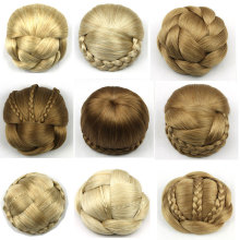 New Style European American Synthetic Hair Chignon Chip In Hair piece Braided Hair Bun Various Styles Available Clip Hair Wraps