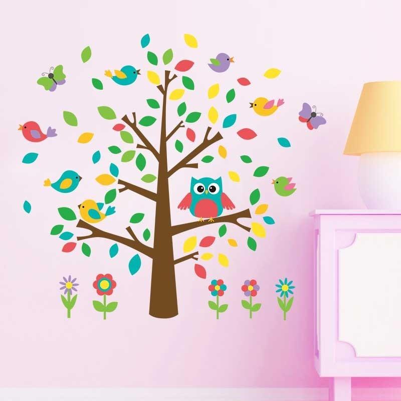 Mignon hibou arbre mur autocollant maternelle diy art vinyl wall stickers décoration murale