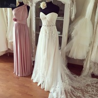 BRITNRY 2018 New Model Beach Tulle Wedding Dress Sweetheart Lace Appliques Long Train Wedding Gown