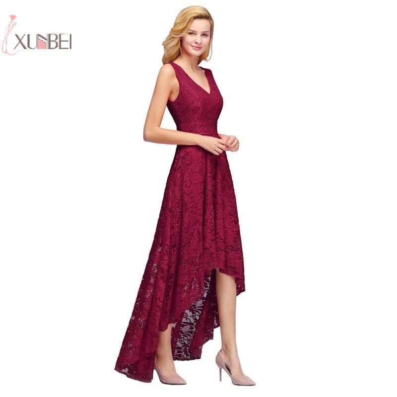 Elegant 2019 Burgundy Sexy Lace Short   Evening     Dress   V Neck Sleeveless   Evening   Gown robe de soiree