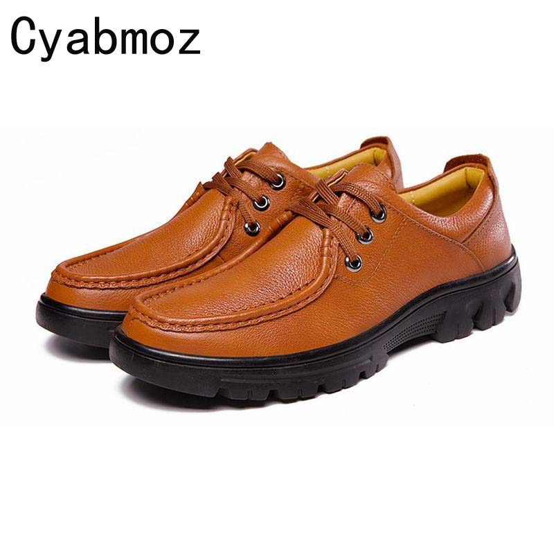 100% Genuine Leather Men's Casual Shoes Male Cow Leather Lace-up Loafers Soft Flats Shoes Large Size 11 12 13 Comfortable Hombre men cow split leather shoes casual loafers soft and comfortable oxfords non slip flats luxury brand designer shoe zapatos hombre