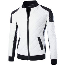 d8cf7dc7343 New White Pu Leather Jacket Men 2015 Fashion Design Mens Slim Motorcycle  Biker Jacket Brand Veste