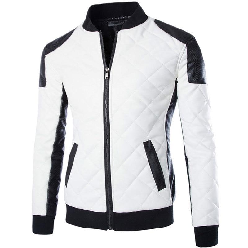 Royaume-Uni disponibilité tout à fait stylé achat original US $41.99 30% OFF|New White Pu Leather Jacket Men 2015 Fashion Design Mens  Slim Motorcycle Biker Jacket Brand Veste Cuir Homme Jaqueta Couro-in Faux  ...