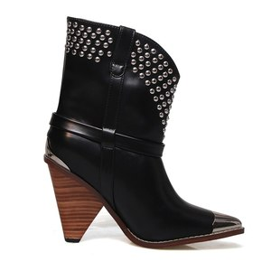 Image 2 - Punk shoes Microfiber leather Boots women metal rivets studded high quality Ankle Boots pointed toe middle heel botas mujer