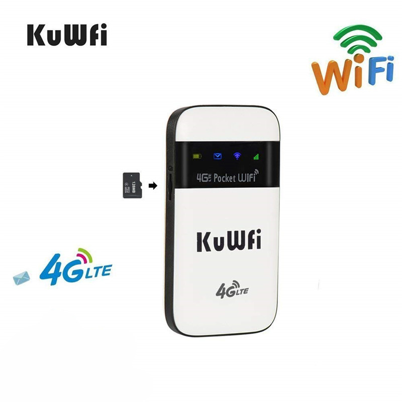 KuWFi 4G LTE WiFi Router Unlocked Pocket 3G/4G Mobile WiFi Hotspot 4G Router with Sim Card Slot for Travel 4g wifi router unlocked 3g 4g lte travel router 5200mah power bank fdd lte car wifi router with sim card slot up to 10 users