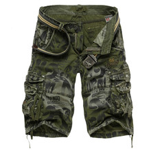 Drop Shipping Men S Camouflage Shorts Summer Army Cargo Workout Loose Casual Trousers Plus Size 29 -40 No Belt