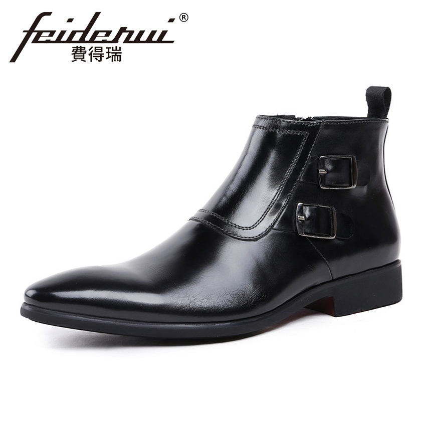 Fashion Italian Genuine Leather Men's Martin Ankle Boots Pointed Toe High-Top Handmade Cowboy Formal Dress Shoes For Man YMX285 2016 new spring 100% real genuine leather formal brand man italian ankle boots men s slip on cowboy rubber shoes gl282