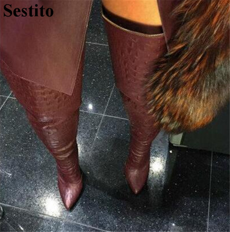 Sexy Black Snake Pattern Thin Heels Thigh High Boots Pointed Toe Over-the-Knee Boots Women Zip Long Boots Autumn New Women Shoes sorbern women boots sexy fetish thin high heels motorcycle shoes pointed toe stiletto lace up over the knee thigh long boots