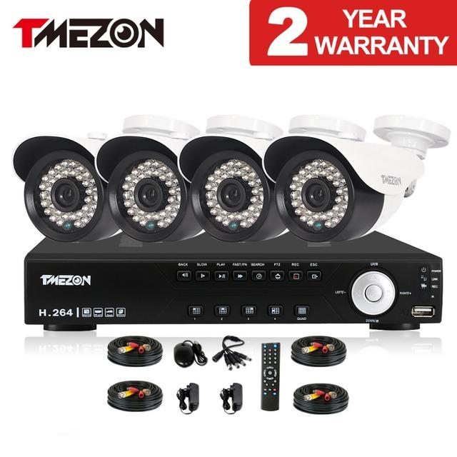 2.0mp 1080 p sistema de seguridad cctv 8ch ahd tmezon 4 unids día noche IR impermeable Cámara de Seguridad en el Hogar Sistemas de Alarma Diy Kit de 1 TB 2 TB