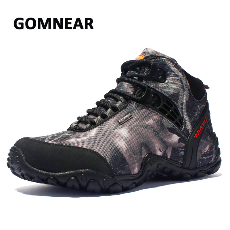 GOMNEAR New Hiking Shoes Breathable Outdoor Waterproof Camouflage Trekking Tactical Boots Camping Sneakers