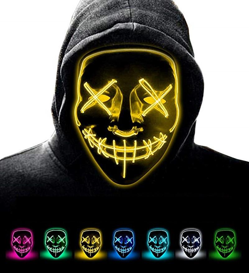 Masque Halloween Masque LED illuminer fête masques néon Maska Cosplay Mascara horreur Mascarillas lueur dans l'obscurité Masque V pour Vendetta