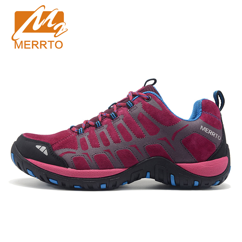 MERRTO Women Hiking Shoes Women Sneakers Leather Outdoor Hiking Trekking Shoes Sneakers For Women Sport Climbing Mountain Shoes