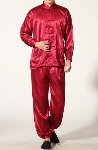 Burgundy Chinese Men s Polyester Satin clothing set Wu Shu suits tracksuit Kung  Fu Suit SIZE S M L XL XXL XXXL M0048-C 8ef942183