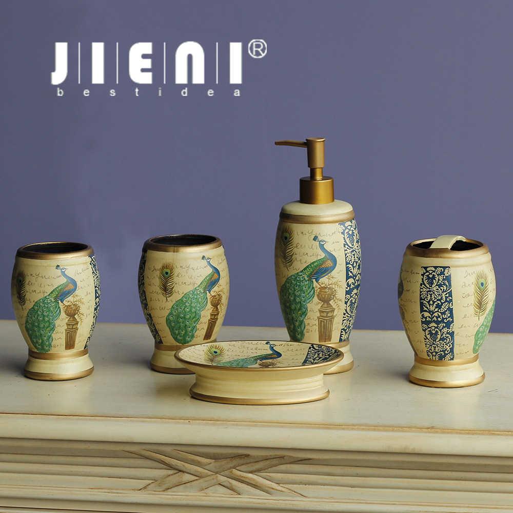 JIENI porcelany łazienka akcesoria zestaw chiński styl sanitarne mydelniczka szczotka do zębów uchwyt na kubek do zębów łazienka 5 sztuk zestaw