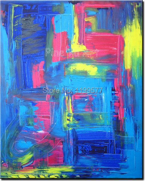 Abstract modern large canvas wall art handpainted decorative blue font b Knife b font paint oil