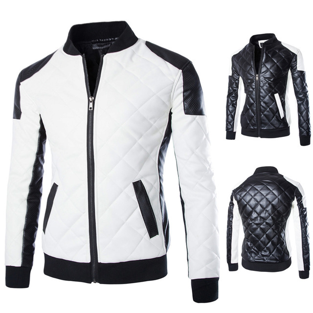 2017 autumn winter men lether jackets men black white pu jaquetas jackets coat mens winter leather