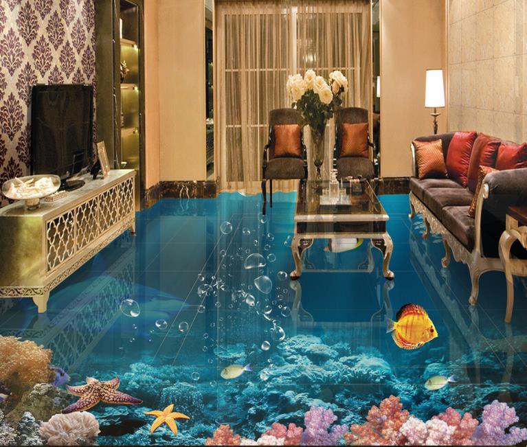 Papel De Parede 3d Floor Tiles Custom Luxury Underwater
