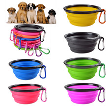 6Colors Solid color Pet Cat dog Bowl folding collapsible silicone puppy doggy feeder water food container foldable style on sale