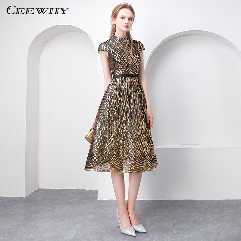CEEWHY High Neck Short Evening Dress Plus Size Sequin Gown Vintage Prom Dresses Saudi Arabia Special Occasion Dresses
