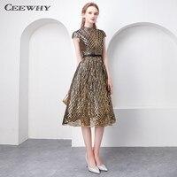 CEEWHY Высокая шея короткое вечернее платье плюс Размеры блесток платье Винтаж платья для выпускного вечера Саудовская Аравия Платья для спец