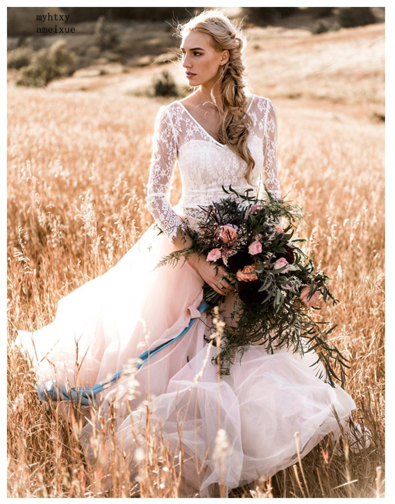 Audacious Cheap Wedding Dress 2019 Beach 3/4 Sleeves Delicate Appliques Sexy Bride Dress Backless Vestido De Novia Playa Lace Long Sleeve Fast Color