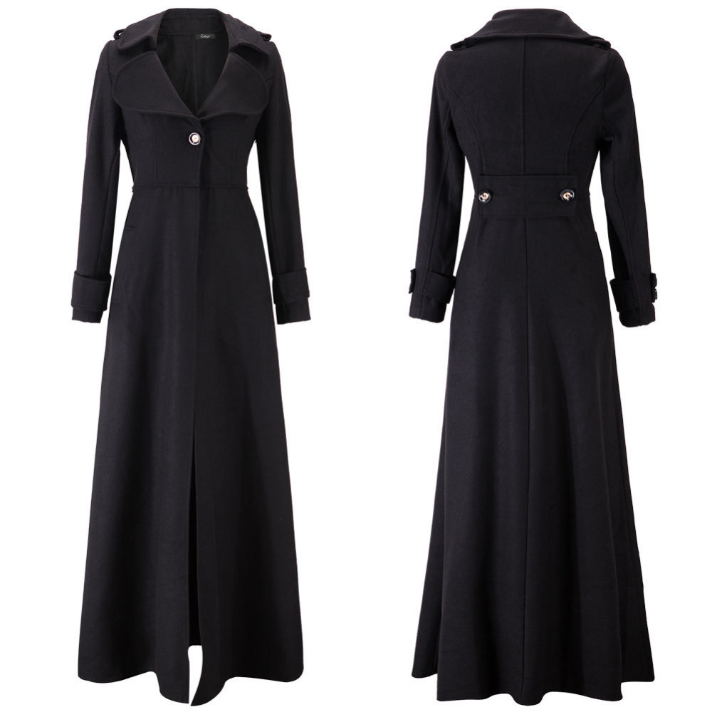2015 Winter Woolen Extra Long Trench Coat for Women Overcoat Turn ...