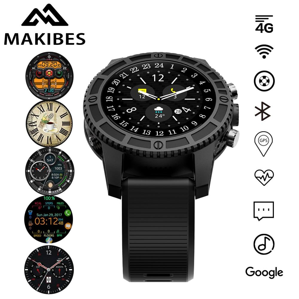 En stock Makibes MK01 Hommes Smart Sport montre WIFI 4g GPS Fréquence Cardiaque Bluetooth Quad Core Google Maps Navigateur i7 pour Montres Téléphone