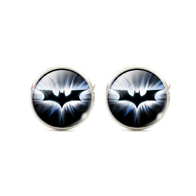 Fashion Silver Plated Cool Batman Cufflinks For Men