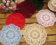 Round DIY Cotton Place table mat lace pad cloth crochet placemat doilies cup mug holder home coaster Modern kitchen accessories
