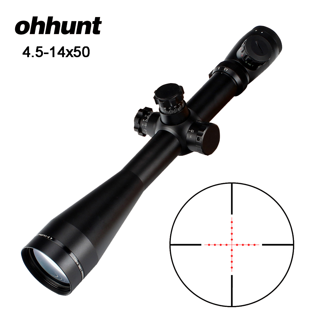 ohhunt Mark 4.5 -14x50 Hunting Riflescope Optical Sights Red Green Mil-Dot Glass Etched Reticle Tactical Scope for Rifle Airsoft 3 10x42 red laser m9b tactical rifle scope red green mil dot reticle with side mounted red laser guaranteed 100%