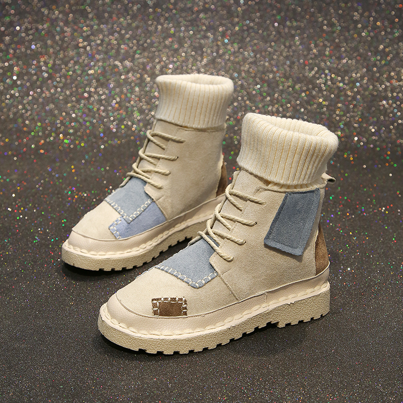 Luxury Shoes Women Designers Black Beige Winter Boots for Female Rubber Bottom Casual Shoes Women High Top Boots Brands 44