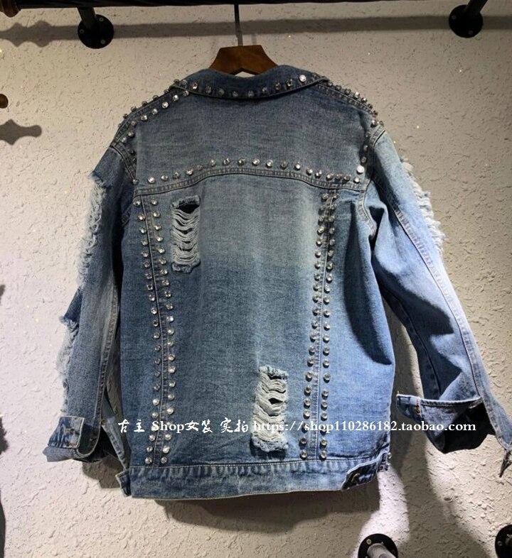 European 2018 Spring Summer New Heavy Bead Diamond Personality Hole Wash Jeans Jacket Female Lady Gloria Jeans Coats Overcoat
