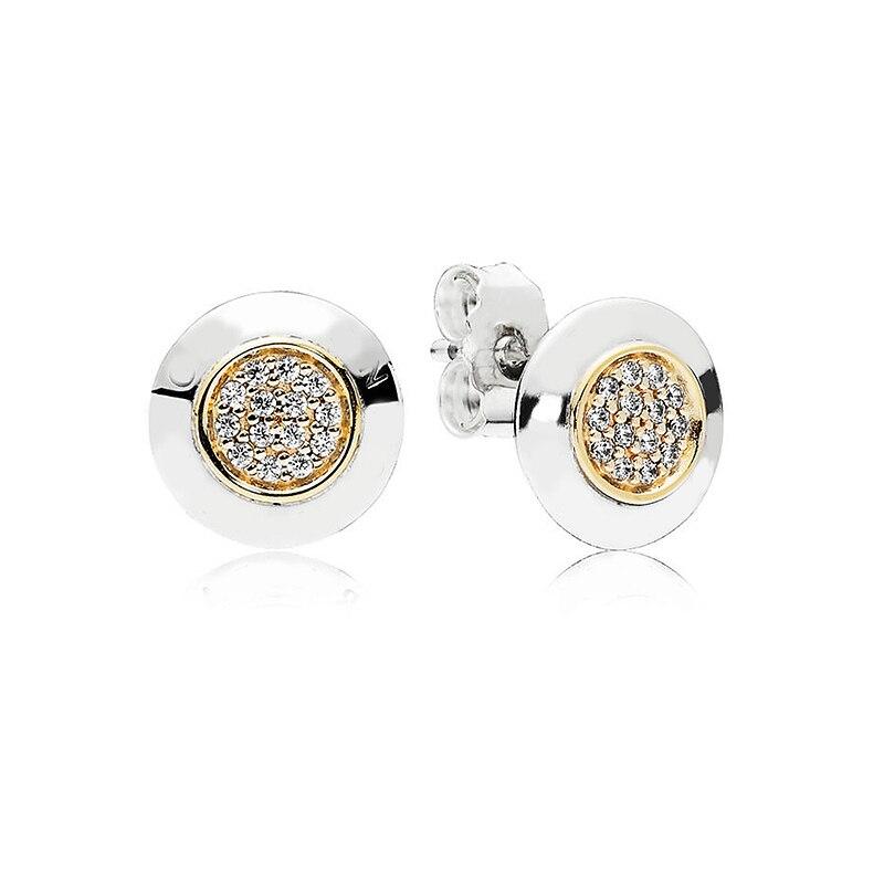 Auténtico 925 pendiente de plata de ley Oro dos tonos firma pendientes para las mujeres regalo de fiesta de boda bien la joyería de Pandora