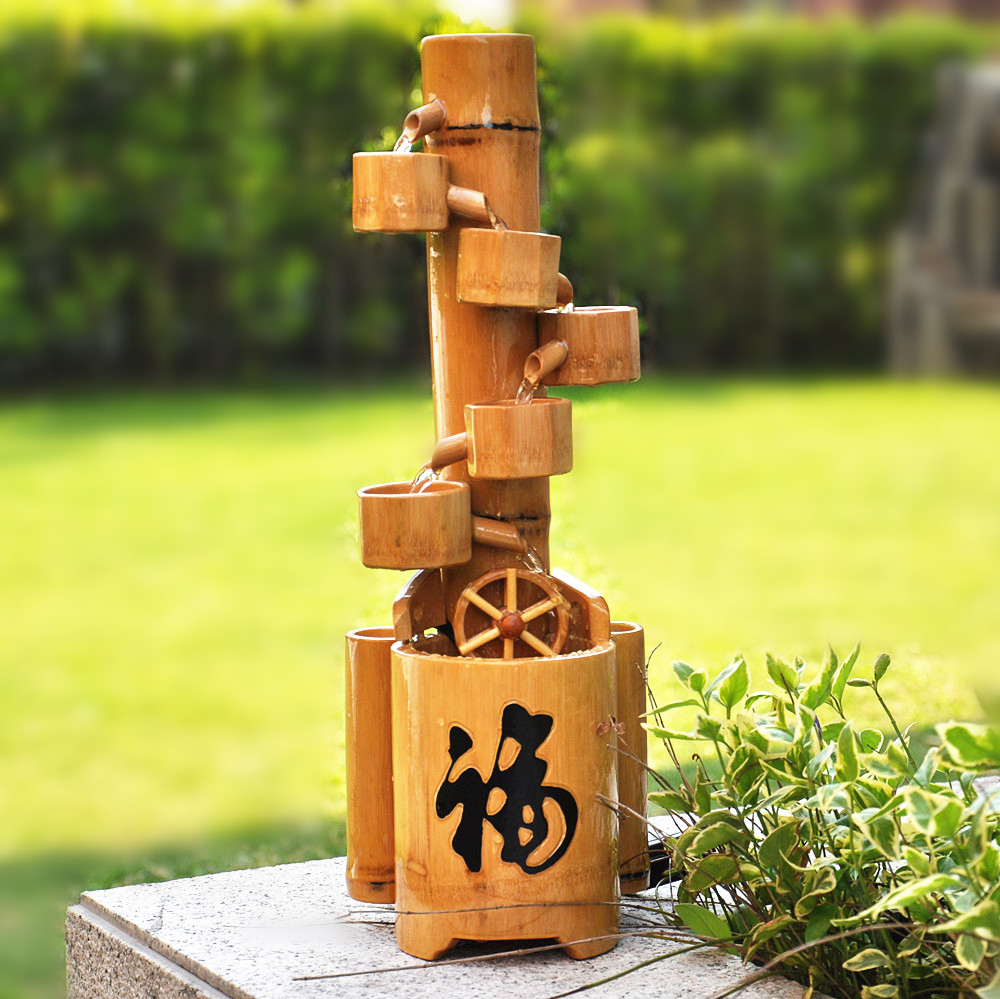Water story bamboo creative wedding gift decoration living room home accessories furnishings Waterscape fountain ornaments