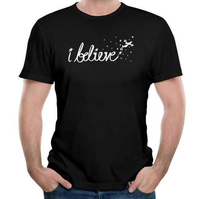 i believe christmas rhinestone cotton mens t shirt