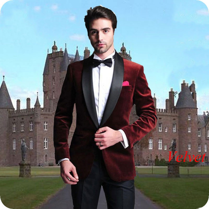 Smoking Jacket Burgundy Velvet Prom Suits For Men Wedding Groom Tuxedos 2Piece Man Blazers Black Shawl Lapel Terno Masculino