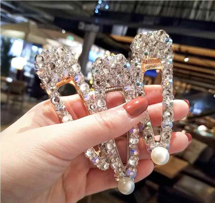 Korea Women Shiny Crystal Rhinestones Hairpins Geometric Rectangle Waterdrop Imitiation Pearl Hair Clips Girls Hair Accessories