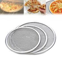 6/8/9/10/12/14 Polegada tela plana de alumínio do forno da pizza da malha bandeja cozimento net bakeware cozinha ferramenta de cozimento