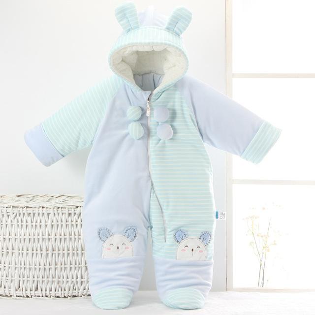 Moda bebê casaco de neve desgaste do inverno mais grossa de veludo de neve recém-nascidos terno elefante bebê outwear snowsuit roupas de algodão macacão