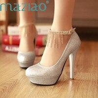 MAZIAO Women Fashion Shoes Ankle Strap Wedding Shoes Bridesmaid Shoes Paltform Rhinestone Chain High Heels Shoes Big Size33 43