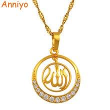 Женское Ожерелье с кулоном Anniyo Allah, Золотистое Ожерелье с кулоном из кубического циркония в арабском стиле, #202904