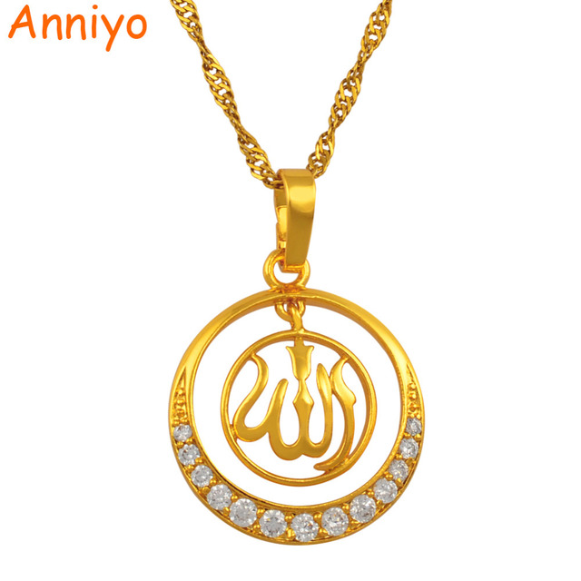 Anniyo High quality Cubic Zirconia Allah Pendant Necklace for Women Islam Jewelry Gold Color Middle East Arab Gifts #202904
